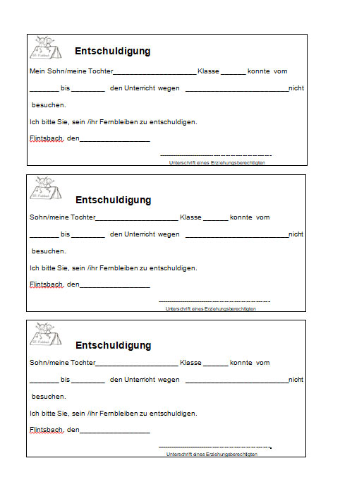 Entschuldigungs Vordruck   Grundschule Flintsbach
